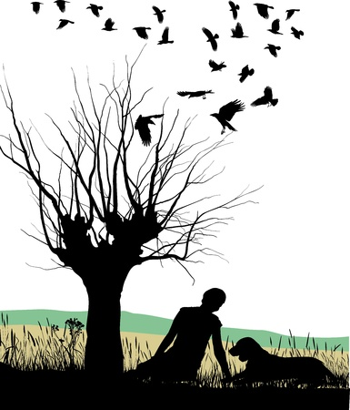 illustration of a lay man and dog in autumn nature Vector