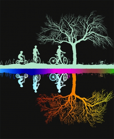 cyclist silhouette:  illustration of the family magical night in the wild