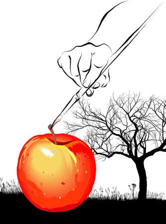 surrealist: surrealist art tree, apple and hand with brush