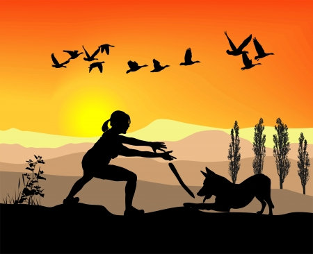 alsatian: Silhouette woman playing with dog in nature at sunset Illustration