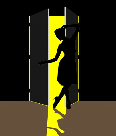 illustration of woman standing in the open door Stock Vector - 15095251
