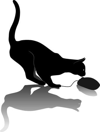 Paradoks: illustration, gry kot i mysz komputerowa Ilustracja