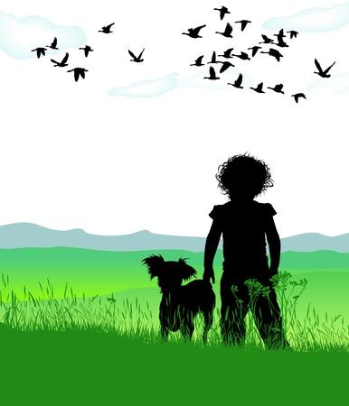 dog park:  illustration of disheveled girl dog