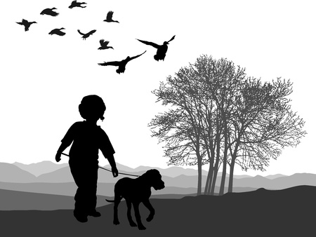 uphill: illustration boy and puppy in autumn nature