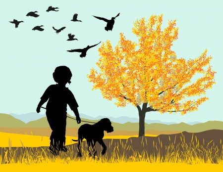dog walk: illustration puppy and boy  in autumn nature