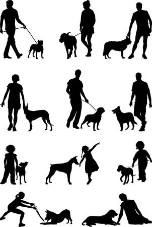 dog on leash: Un perro - el amigo m�s fiel del hombre s, las ilustraciones de las personas y los perros Vectores