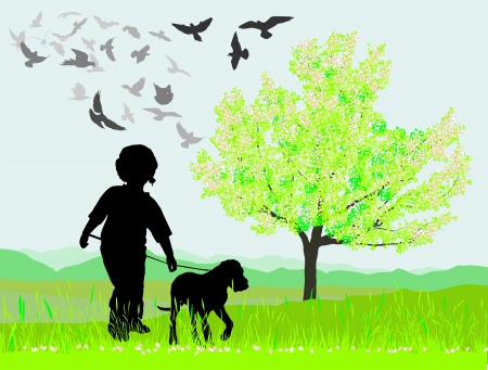 uphill: illustration puppy and boy  in spring nature Illustration
