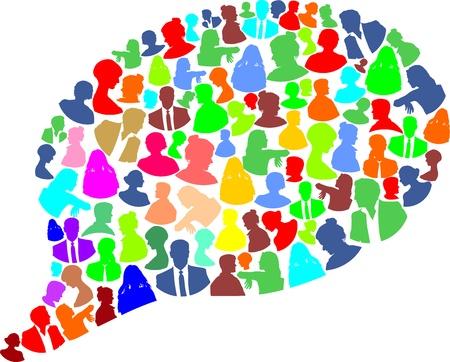 business discussion: discurso burbuja con muchas mujeres de color abstracto y el hombre