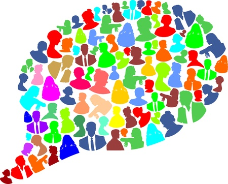 diverse business team: speech bubble with many abstract color woman and man