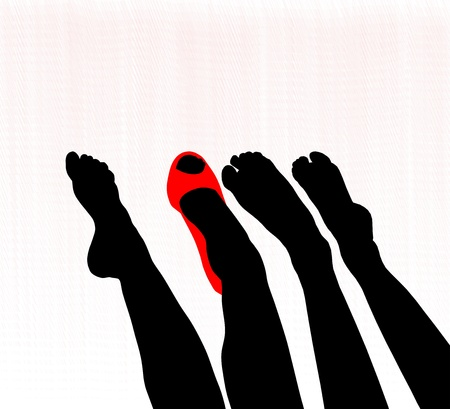 anklebone: Graceful beautiful female feet, barefoot, one in the shoe Illustration