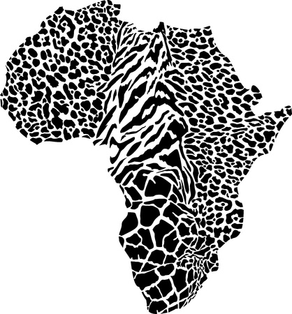 illustration of Africa as a animal skin