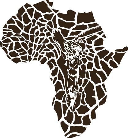 afrika: illustration of Africa as a giraffe  skin Illustration