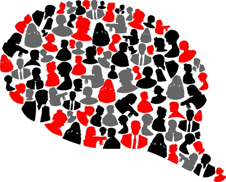 Speech black and gray and red bubble with people Vector