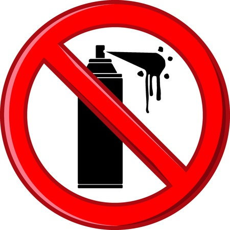 Symbol ban spraying walls,  illustration on white background