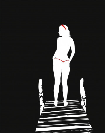 a thong:  illustration of woman in a thong moonlight Illustration
