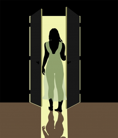 sunup:  illustration woman in nightgown standing in the open door Illustration