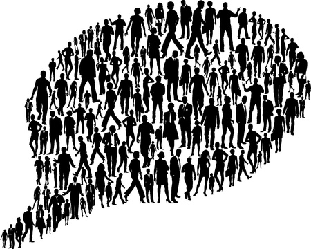 illustration bubble of silhouettes of business people Vector