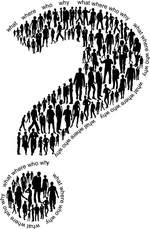 Question mark illustration of silhouettes of business people Stock Vector - 17211817