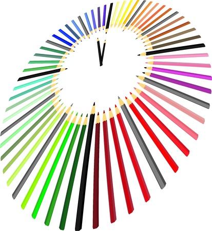 zeitlos: Abbildungen Stunden von Farbstiften in Sicht Illustration