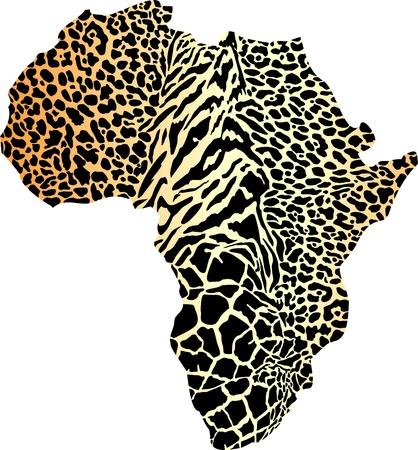 africa animals: vector illustration of Africa as a animal skin Illustration