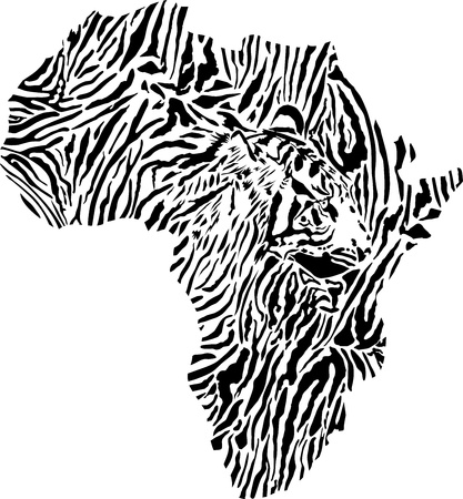vector illustration of symbol Africa as a Tyger skin Vector