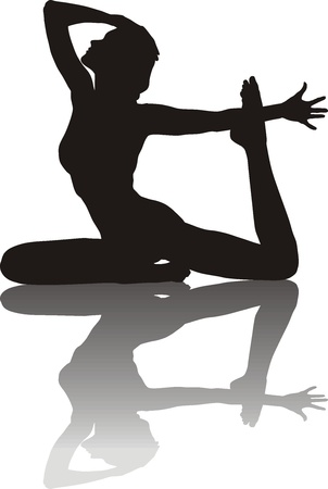 freedom woman: Illustration of silhouette of a young woman yoga instructor