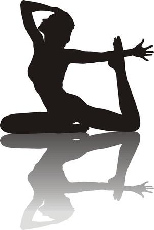 buena postura: Ilustración de la silueta de un instructor de yoga mujer joven