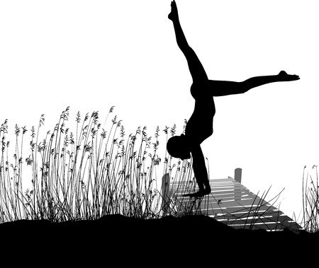 jetty: vector vector black and white illustration gymnast on the pier Illustration