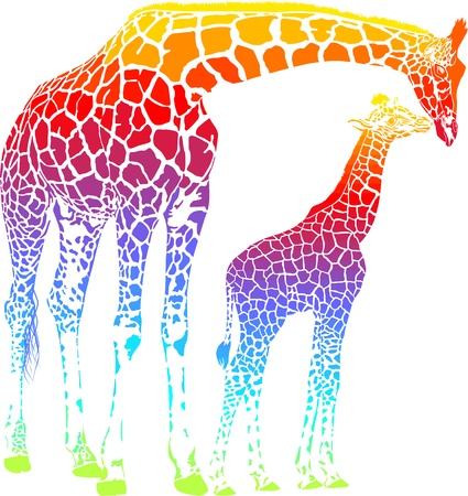 Rainbow  vector illustration of mother and young giraffe