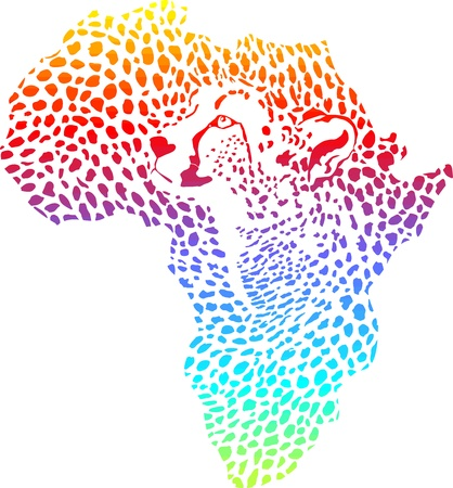 afrika: vector illustration of abstract Africa as a cheetah skin