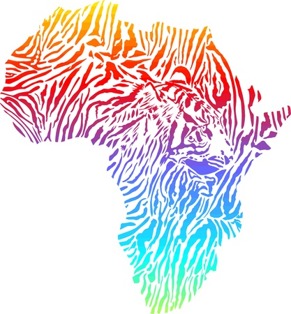illustration of abstract Africa as a tiger skin