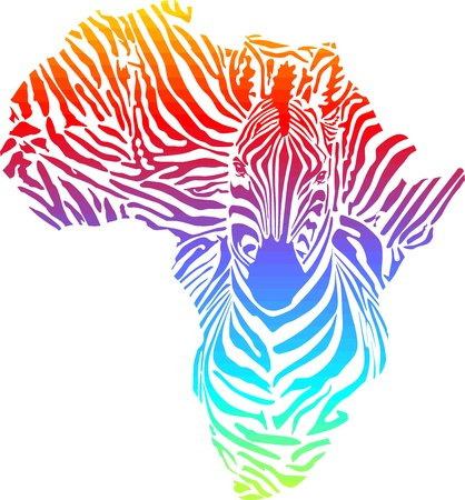 illustration of abstract Africa as a rainbow zebra skin