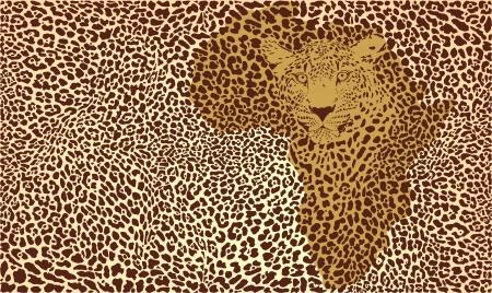 illustration background camouflage jaguar in Africa Illustration