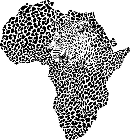 leopard head: illustration of symbol Africa as a leopard skin and head