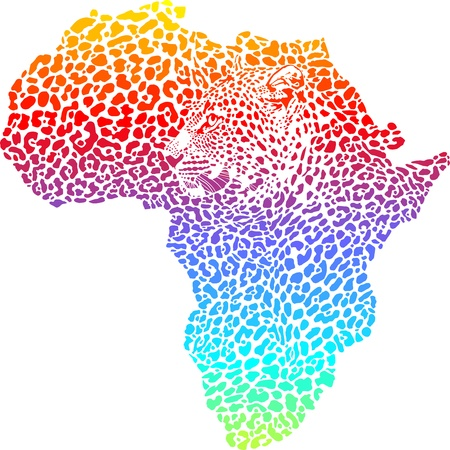illustration of abstract symbol Africa as a leopard skin and head Vector