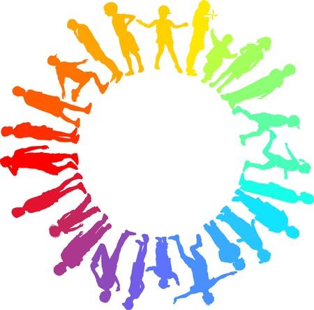 girotondo bambini: illustrazione dei bambini arcobaleno nel cerchio Vettoriali