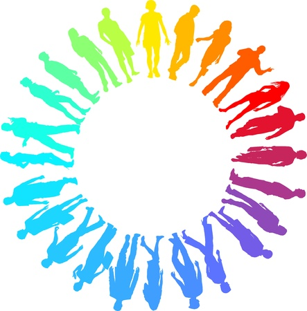 group people: illustration of rainbow people in the circle