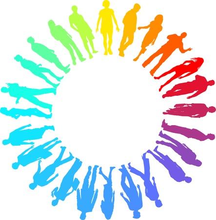 arcoiris: ilustraci�n de la gente del arco iris en el c�rculo