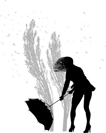 rebuttal: woman rebuttal umbrella and poplars in the wind