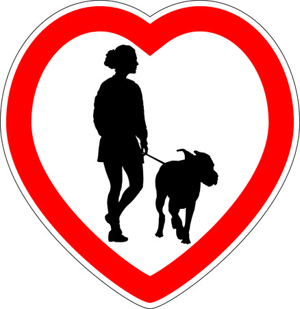 breeder: vector illustration of heart symbol with a woman with a dog Illustration