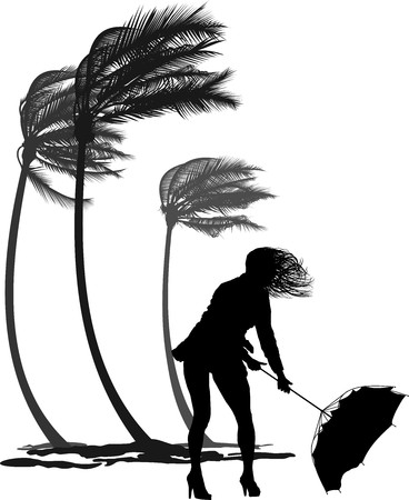 tall tree: woman rebuttal umbrella and palms in the wind Illustration
