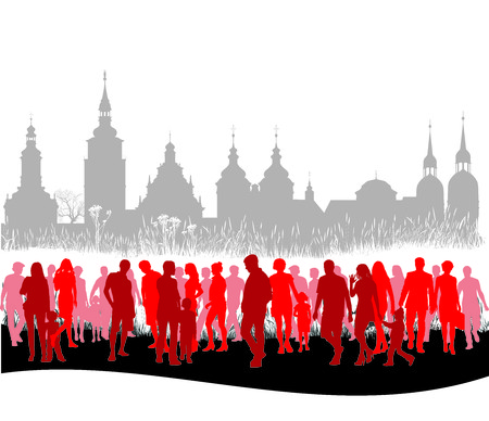 vector illustration of the group of people the panorama of historical city