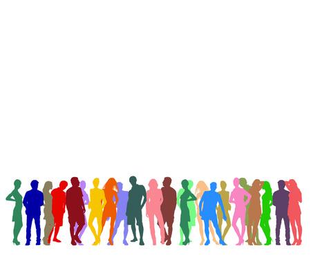 Illustrazione di sagome colorate di figure umane Archivio Fotografico - 24018772