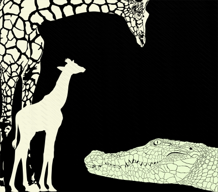vector illustration of crocodile and giraffes on a black background Vector