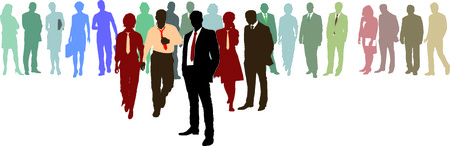organisational: People in three lines - color silhouette