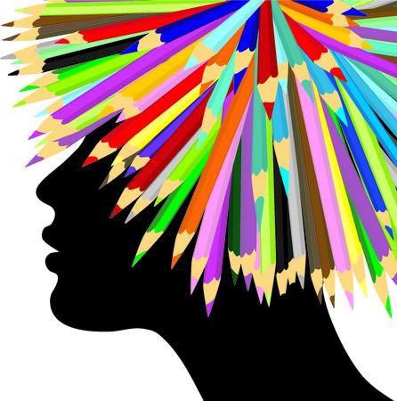 peluca: Chica con una peluca creado con l�pices de colores Vectores