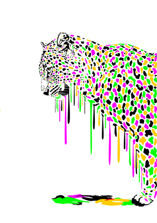 melts: Illustration of leopard in abstract colors melts