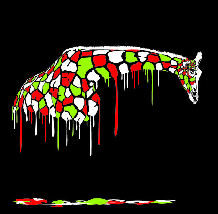 melts: Illustration of giraffe in abstract colors melts on a black background