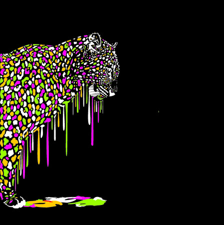 melts: Illustration of leopard in abstract colors melts on a black background