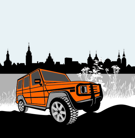 off road vehicle: illustration offroad car in front of the historic city  Illustration